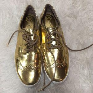 "Gold Michael Kors ""Piers"" Gold Oxford shoe"